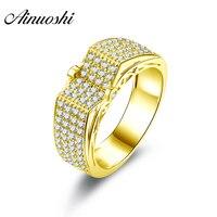 AINUOSHI роскошный мужской ремешок 10 K массивная, желтая, Золотая кольцевая строчка сверло v образное Кластерное Свадебное обручальное кольцо з