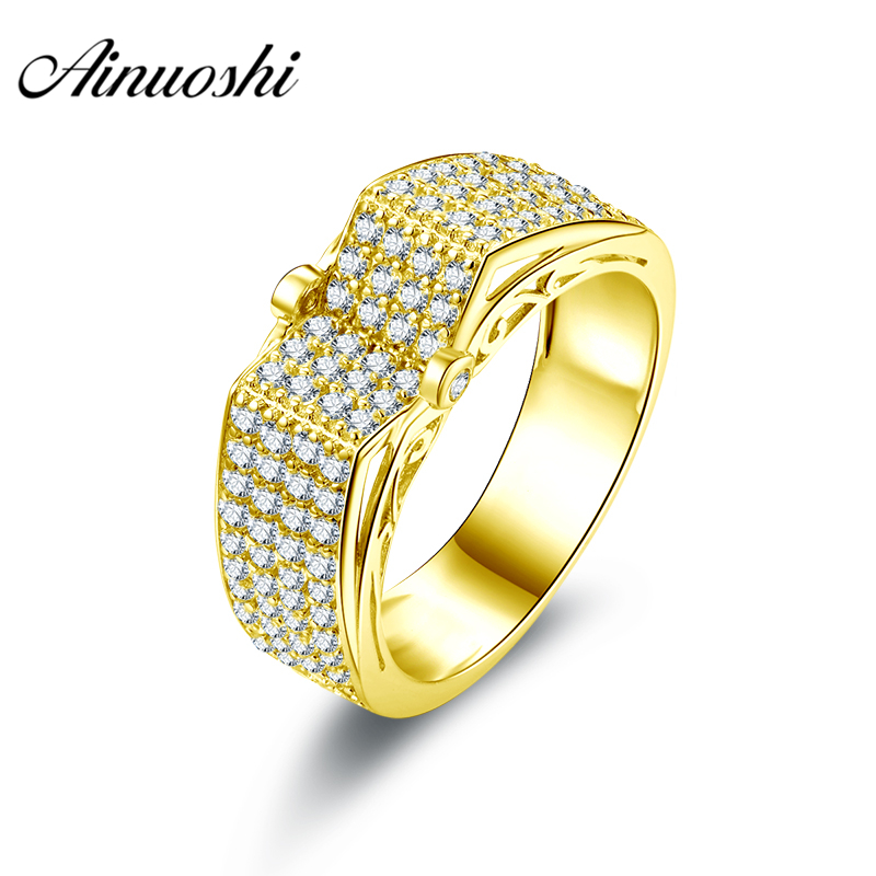 AINUOSHI Luxury Men Band 10K Solid Yellow Gold Ring Rows Drill V-Shaped Cluster Ring Wedding Engagement Gold Jewelry 5g Men Ring цена и фото