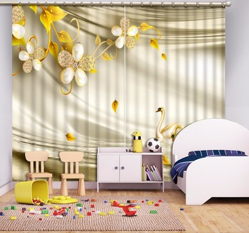 3D Curtains Silk jewelry Window Curtains For Living Room 3D Photo Blackout European style Curtains