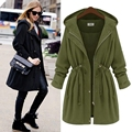 New Autumn Trench Coats Women Hoooded Long Army Green Black Slim Cardigans Female Adjustable Waist Coats XXXXL