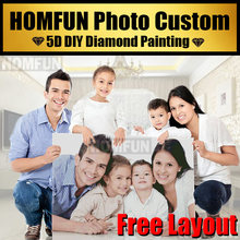 Homfun foto personalizado! personalizado privado! diy diamante bordado 5d pintura diamante ponto cruz 3d strass 5d decoração presente