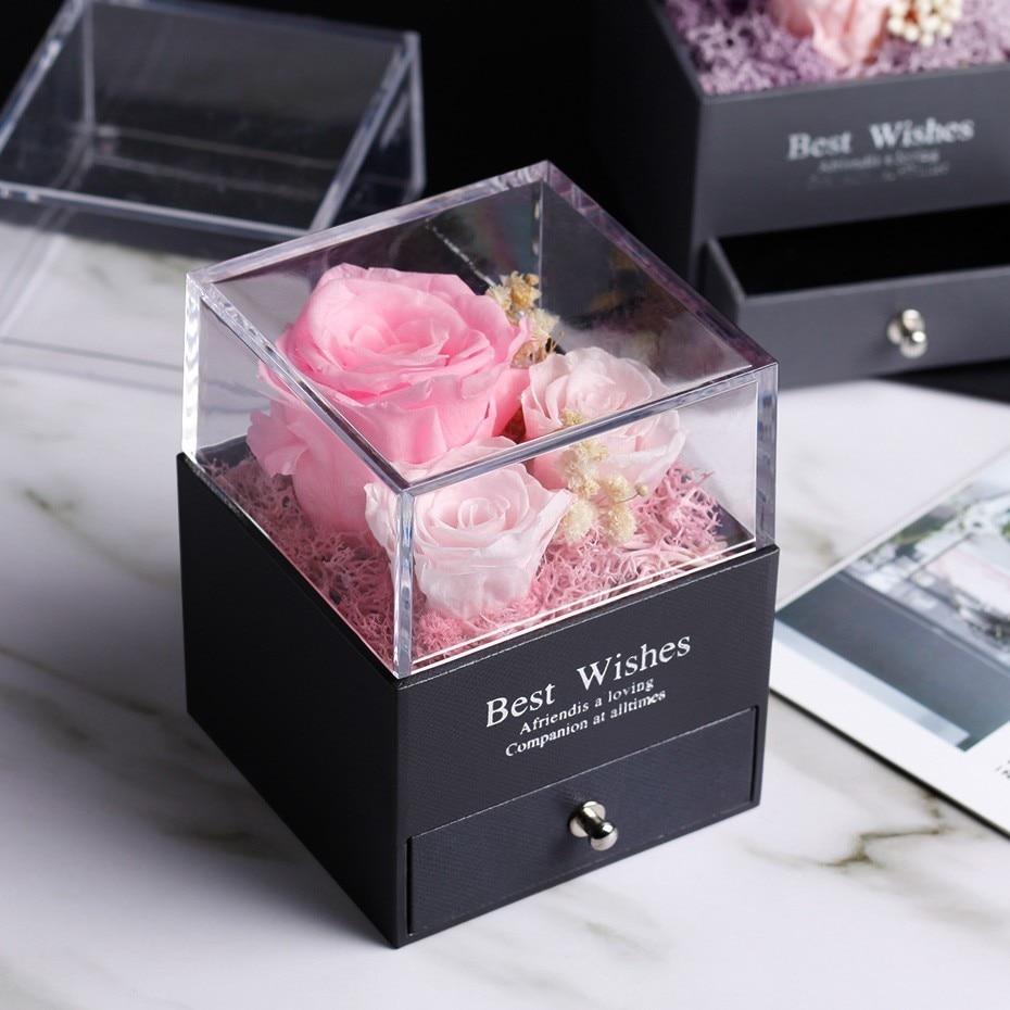 Средняя красота и чудовище Роза, Роза в стеклянном куполе, навсегда Роза, красная роза, консервированная Роза, Белль Роза, особый романтический подарок - Цвет: Розовый
