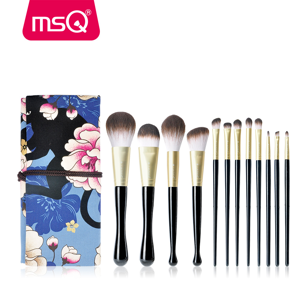 MSQ Pro 12pcs Thin Waist Makeup Brushes Set Powder Foundation Eyeshadow Lip Eyelash Make Up Brush Cosmetics With Blue Bag Nice msq 12pcs makeup brushes set powder foundation eyeshadow make up brush professional cosmetics beauty tool with pu leather case