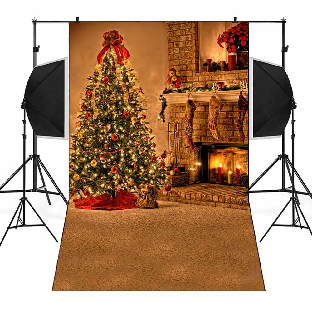 Christmas Ornaments Background.Xmas Decor New Year 2019 Christmas Ornaments Backdrops Vinyl 3x5ft Fireplace Background Photography Studio For Home Party Gift