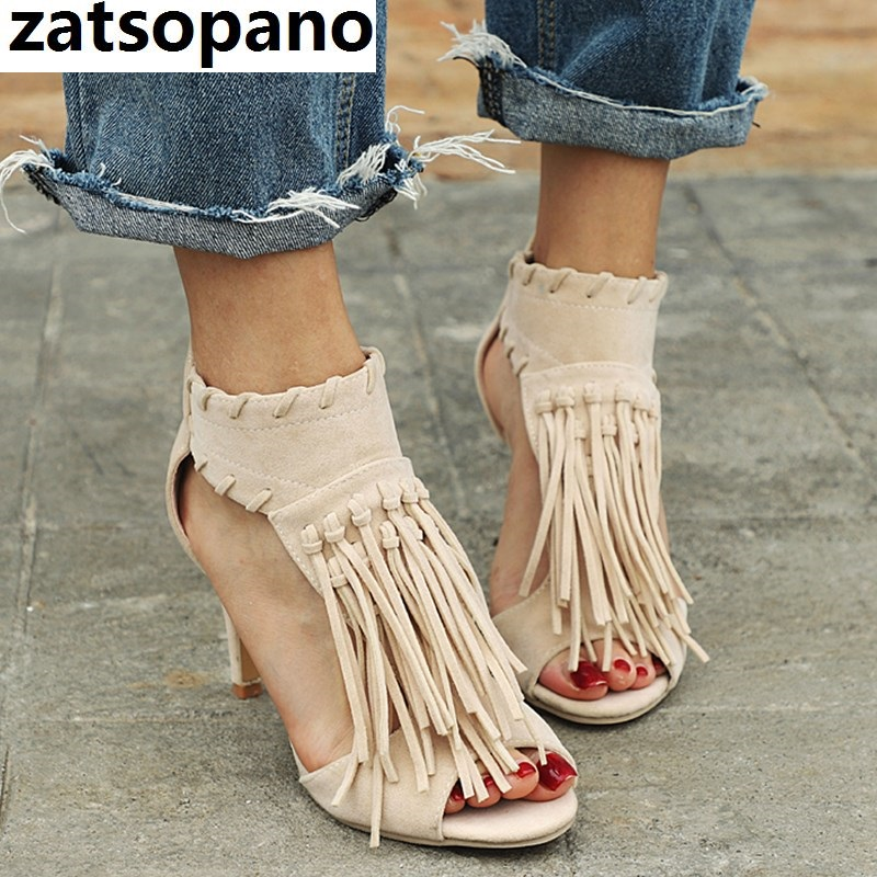 Brand 2019 Black Apricot Sexy Women Tassel <font><b>Sandals</b></font> Open Toe Zipper High Heels <font><b>12</b></font> <font><b>cm</b></font> <font><b>Sandals</b></font> Woman Shoes Plus Big Size 34-43 image