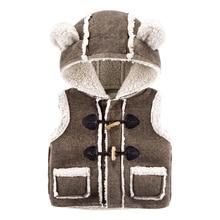 Дети жилет зима С Капюшоном Ребенок однобортный жилет с толщиной шить досуг мальчик маленький бархатный жилет