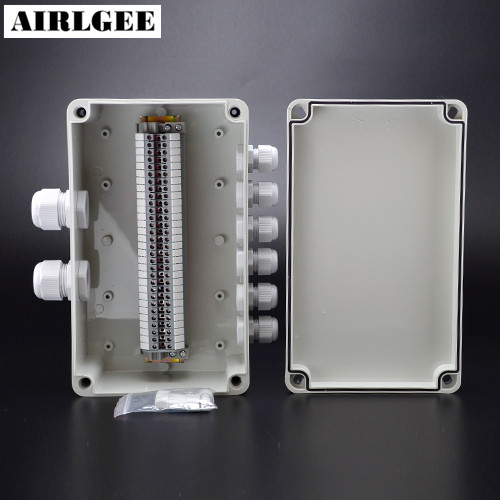 250 150 100mm ABS Plastic Waterproof Electric Junction Box Cable Connection DIY 2 inlet 6 outlet