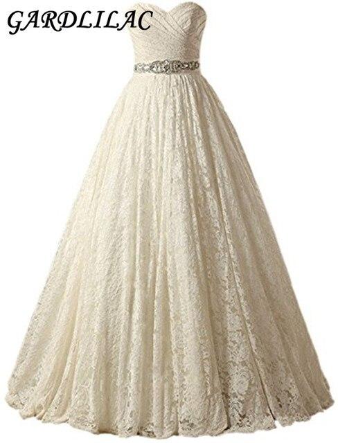 Gardlilac Lace Sashes Ball Gown Wedding dress White ivory Champagne ...