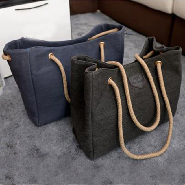 4d9e451af24 Hot Sale Canvas Handbags Personality Contracted Large Bag Single Or Double  Rope Shoulder Bags For Women,bolsas femininas ,BJF081