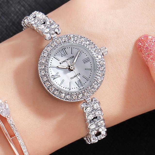 851c745af Genuine KINGNUOS Brand Fashion Casual Women Wristwatch Roman Numerals Diamond  Bracelet Watch Luxury Quartz Lady Watches Relogio