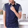 Male Short-Sleeve Fashion Polo Shirt Turn-Down Collar Striped Sleeve Men's Plus Size Brand Clothing Slim Fit Leisure Polo Homme