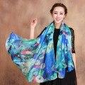 Female Broadened 100% Silk Scarf for Women Plus Size