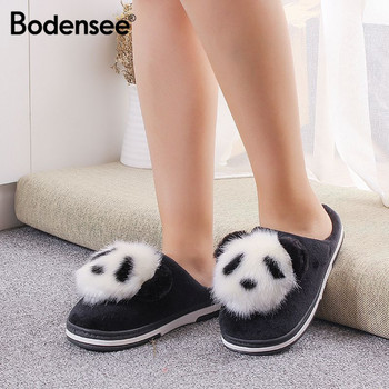 BODENSEE Women Cotton slippers Ladies Cute Cartoon Panda Slippers House Bedroom Flats Comfortable Warm Winter Flip Flop slipper