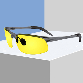 Night Driving Glasses -Semi Polarized Yellow Tint HD Vision Anti Glare Lens UV400 Driver Unbreakable Metal Frame Sunglasses N001