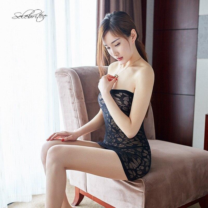 8712924ec70 Selenritee Womens Tube Top Dress Sexy Hot Nightwear Minidress Leaf Print  Chemise Femme Babydoll Lingerie Sleepwear for Ladies-in Babydolls   Chemises  from ...
