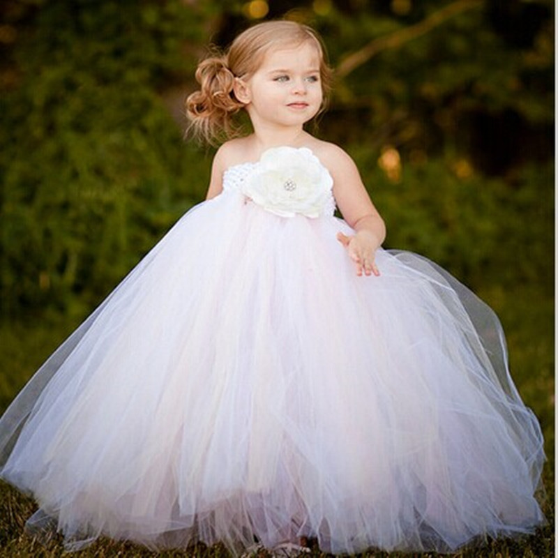 Girls Dresses White Mix Ivory Floor-Length Flower Girl Tutu Dress Girls Clothes For Wedding Birthday Party Photograps new white ivory nice spaghetti straps sequined knee length a line flower girl dress beautiful square collar birthday party gowns