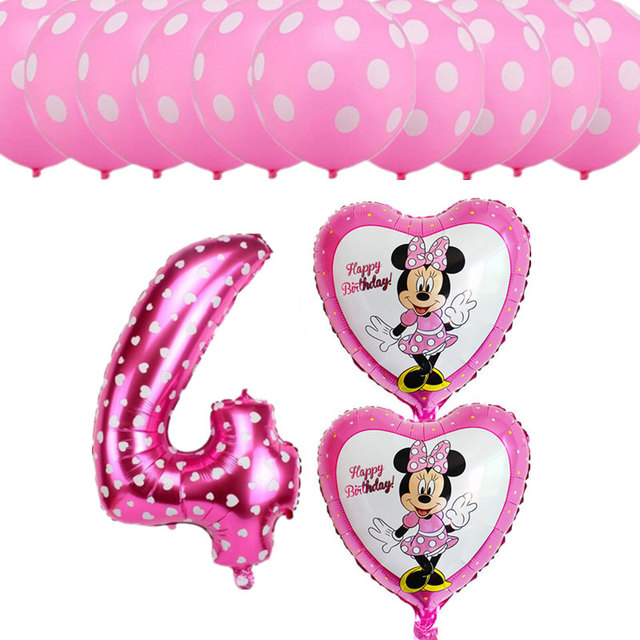 13pcs Lot 4 Years Old Birthday Theme Party Balloons Dot Latex Girl Boy Happy