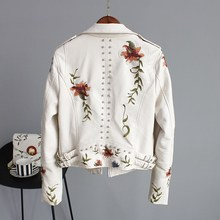 Women Floral Print Embroidery Faux Soft Leather Jacket Coat