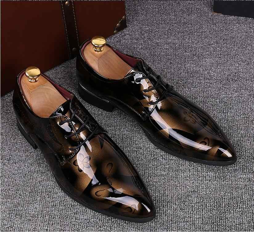 Мужские модельные свадебные туфли Роскошные модные туфли для жениха из лакированной кожи мужские оксфорды на плоской подошве; размеры 38-47; HX48