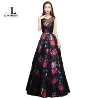 LOVONEY 2017 New Design Flower Pattern Elegant Evening Dress Long See Through Back Formal Party Dresses