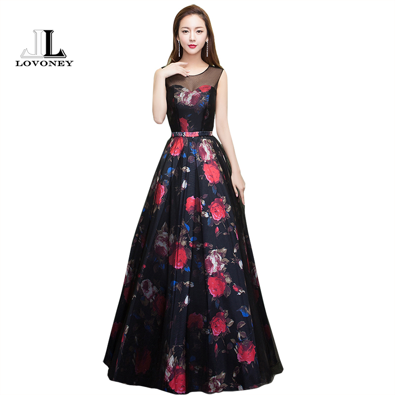LOVONEY 2019 New Design Flower Pattern Elegant Evening Dress Long See Through Back Formal Party Dresses Evening Gown M209