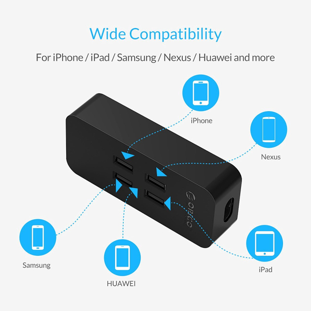 ORICO DCV-4U Recommend EU Plug 20W 4 Port USB Charger with Smart Super Charging Technology for Your Phone, Tablet and More