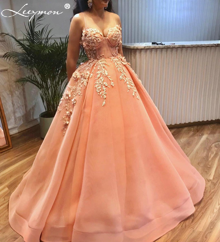 Leeymon Spaghetti Strap Sweetheart Sexy Evening Dress Ball Gown Appliques Beaded Prom Dress robe de soiree