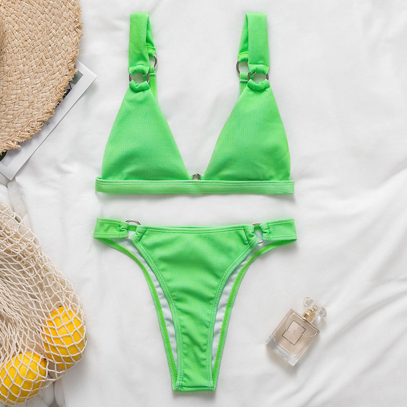 Sexy Triangle swimsuit female bikini set Push up bathing suit 2019 High cut swimwear women Summer beachwear Neon green biquini