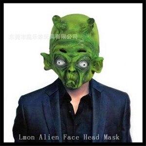 Горячая Распродажа, страшные Два рога и зеленая маска для инопланетянина, Жемчуг дракона, чудовище, дьявол, король, латексные маски, Карнава...