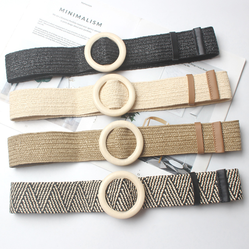 New Vintage Knitted Wax Rope Wooden Bead Waist Rope Women Smooth Buckle Belt Woman Woven Female Hand-Beaded Braided Belt BZ19