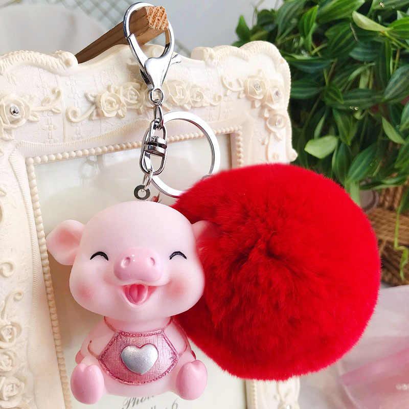 Animal bonito Dos Desenhos Animados Pvc Chaveiro de Porco Pele De Coelho Pom Pom Cadeia de Borracha Macia Chave Amor Soa Chaveiro Llaveros Saco pingente charme