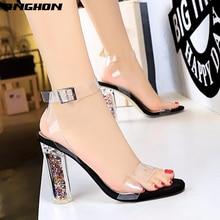 цена TINGHON Women Sandals Ankle Strap Summer Shoes Woman High Heels Chaussures Femme Open Toe Women Summer Sandals Plus Size 35-43 онлайн в 2017 году