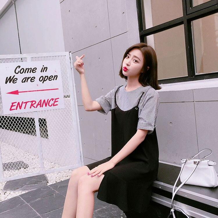5a4ef44bf6e Women Dresses 2018 Summer Korean Style Fashion Striped Patchwork Ruffles  Fake Two Piece Casual Blue Dress vestidos de festa D188-in Dresses from  Women s ...