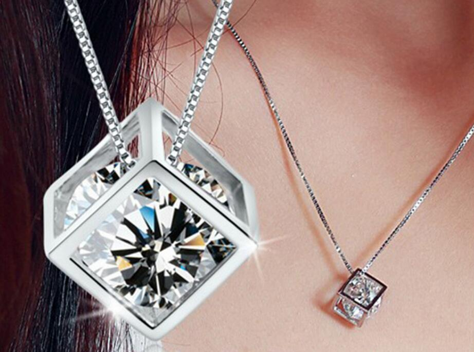 Korean love New style Sterling Silver shinning Cube Zircon Pendant Necklace For Women Gift 45 cm Box Chain choker collates