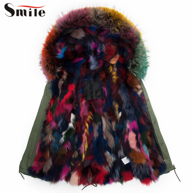 Women Natural Colorful Fox Fur Lining Hood Collar Parka Coat ...