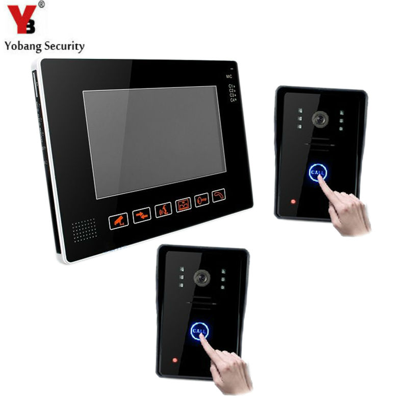 YobangSecurity 9 Video Audio Intercom Doorbell Video Door Phone Bell Access Control 2 Camera 1 Monitor for Home Security System jeatone 7 lcd monitor wired video intercom doorbell 1 camera 2 monitors video door phone bell kit for home security system
