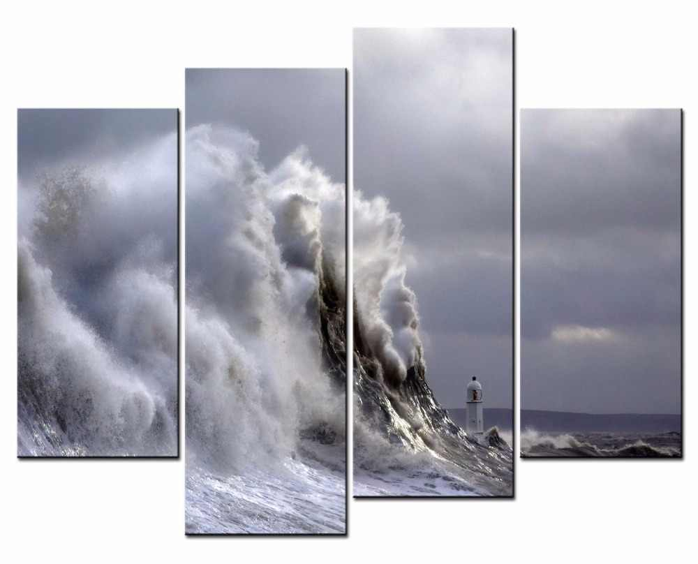 HOT Framed 4Pieces/set waves of the sea scenery Wall Art For Wall Decor Home Decoration Picture Paint on Canvas Prints Painting