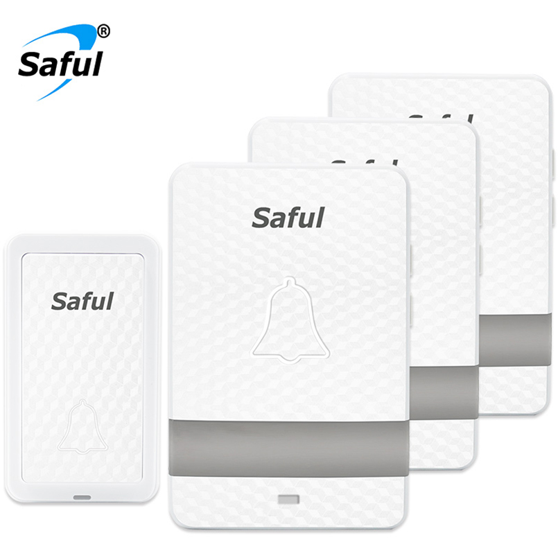 Saful Self powered wireless doorbell White no battery Doorbell Waterproof Wireless door bell 100m range with 3 Indoor Receiver forex b016 l168