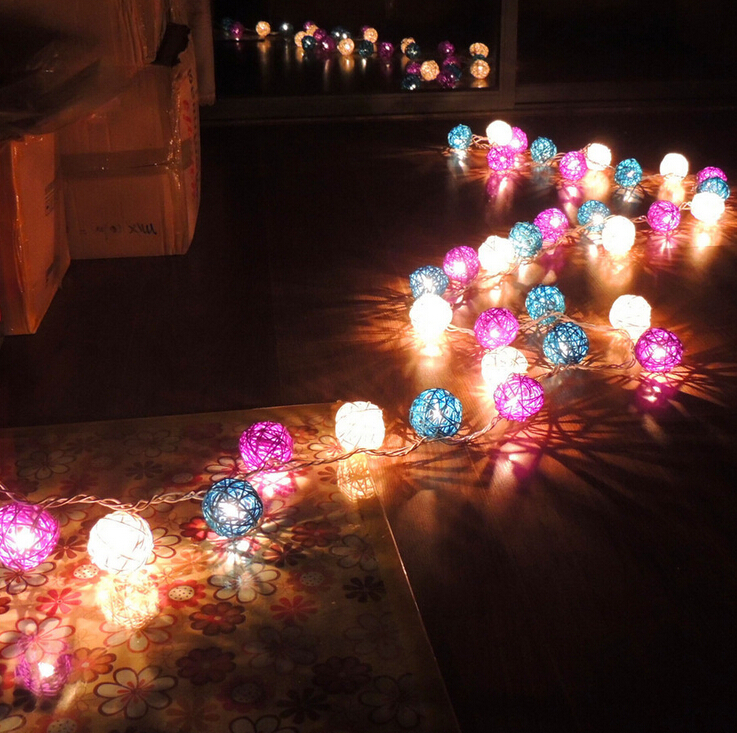 Battery operated AC110v AC220v White & Blue & Purple 4CM/5CM Rattan Christmas tree decoration string Warm white lights
