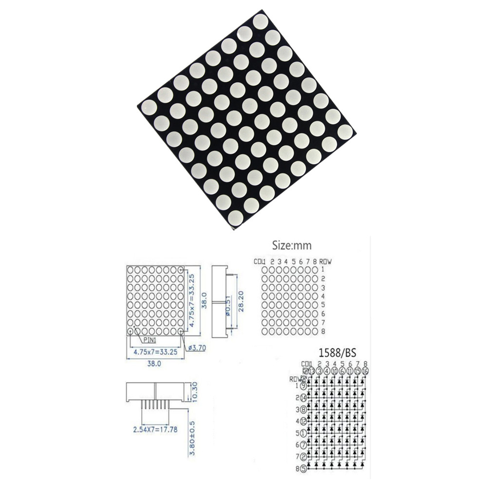 US $0 6 |3mm 8 x 8 Led Lattice Bright Red Dot Matrix Module 8x8 8*8-in LED  Displays from Electronic Components & Supplies on Aliexpress com | Alibaba