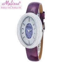 Melissa Brand Women Luxury Full Crystals Watches Fashion Vintage Oval Rhinestones Watch Leather Quartz Analog Wrist watch Femme