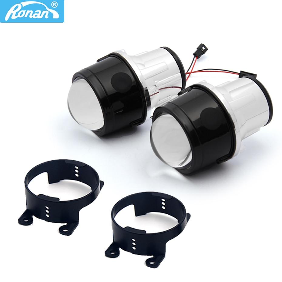 RONAN car styling Fog Light Projector Lens 2.5 Bi Xenon H8 H9 H11 Full Metal Bifocal Driving Waterproof Front Bumper Lamp DIY