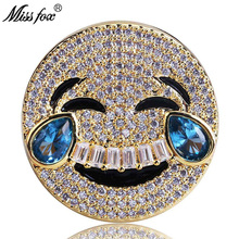 HOT!!! Hip Hop Personality Men Ring Laughing Crying Tearing Face Network Emoji Expression Gold Zircon Luxury Bijoux