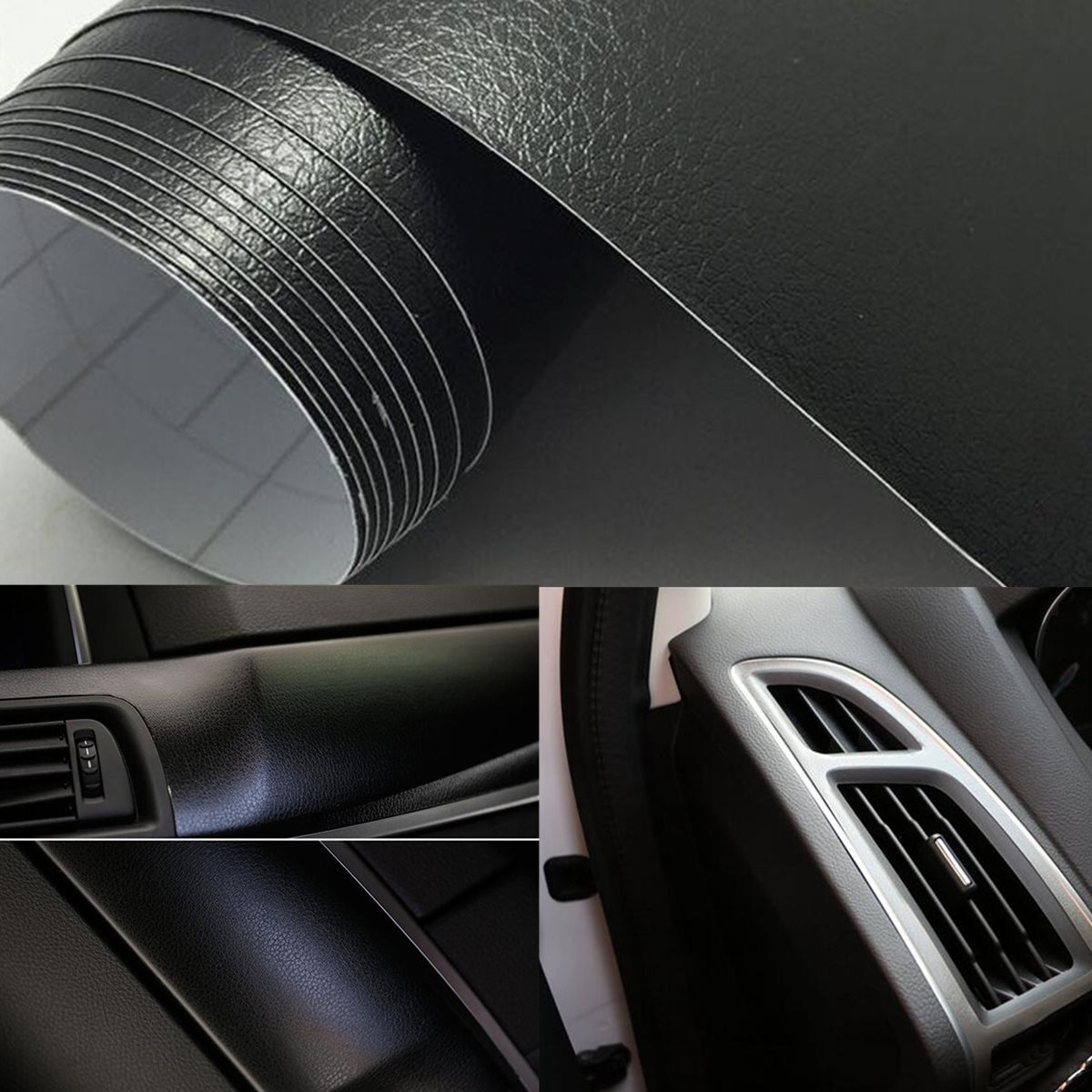 New 12 Inch X 60 Inch PU Leather Texture Car Vinyl Wrap Sticker Car Inner Sticker Decal Film Car Styling