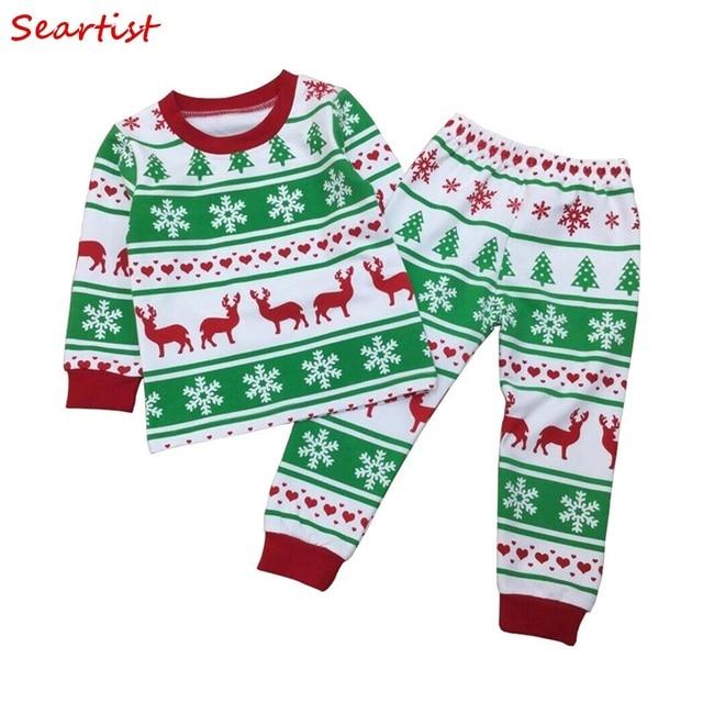 seartist boys girls christmas pajamas girl reindeer clothing set kids christmas nightwear pjs pajamas baby boy - Girl Christmas Pajamas