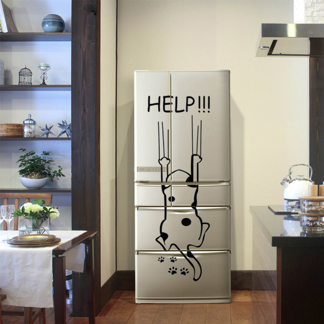 """Help!!!"" Funny Cat Quote DIY Wall Sticker"