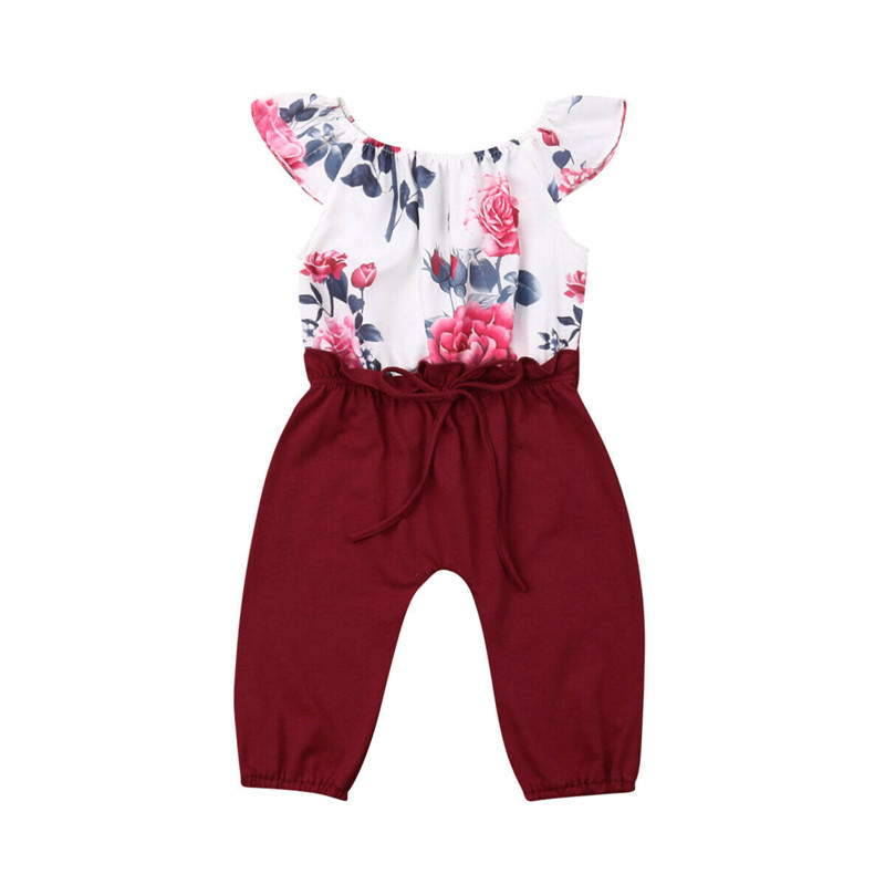2019 Fashion Toddler Baby Girls Jumpsuit Playsuit Flower Puff Sleeve   Romper   Outfit Clothing Patchwork Cotton Summer Clothes