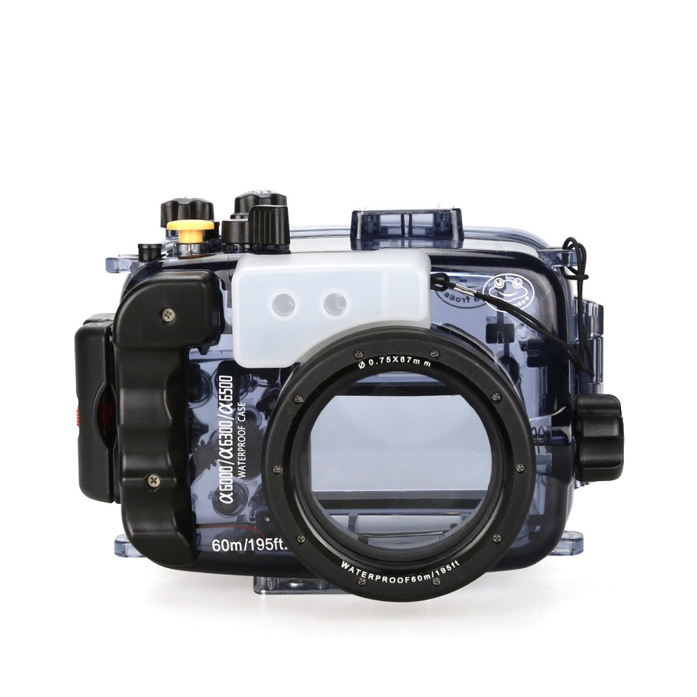 SeaFrogs 40m/130ft Waterproof Underwater Camera Housing Case for A6000 A6300 A6500 Can Be Used With 16-50mm Lens 40m 130ft waterproof underwater camera diving housing case aluminum handle for sony a7 a7r a7s 28 70mm lens camera