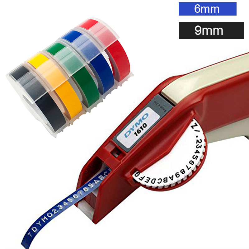 Dymo 1610 Manual Label Maker for 6 9mm 3D Embossing Plastic Label Tapes Dymo Organizer Xpress Label Printer Plus 5pcs Labels in Printer Ribbons from Computer Office