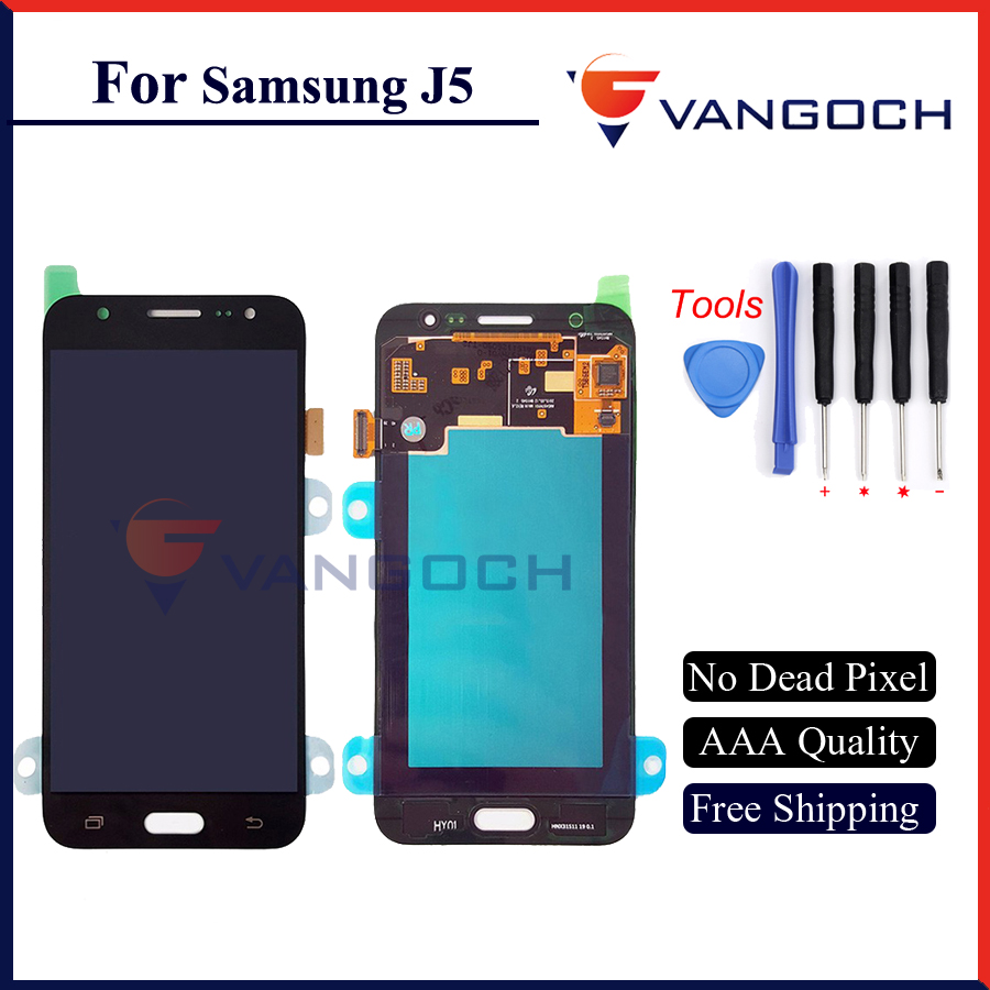 Free shipping 100% Test Original For Samsung Galaxy J5 LCD J5 LCD Display Touch Screen Digitizer Assembly - Blue/White/Golden original 100% test lcd display touch screen digitizer assembly for samsung galaxy note edge n915 white with tempered glass tools